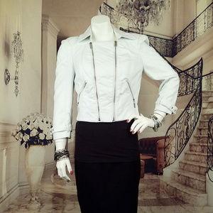 BEBE white faux leather 3/4 moto jacket